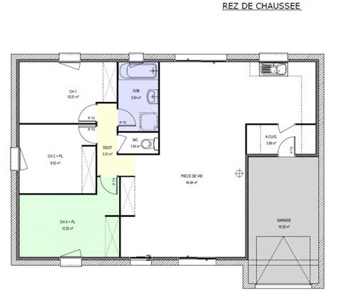 plan maison plain pied 3 chambres en l awesome plan maison m plainpied chambres with maison 100m2