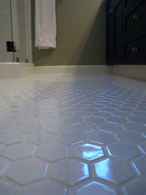 white hex tile bathroom floor   white grout clean