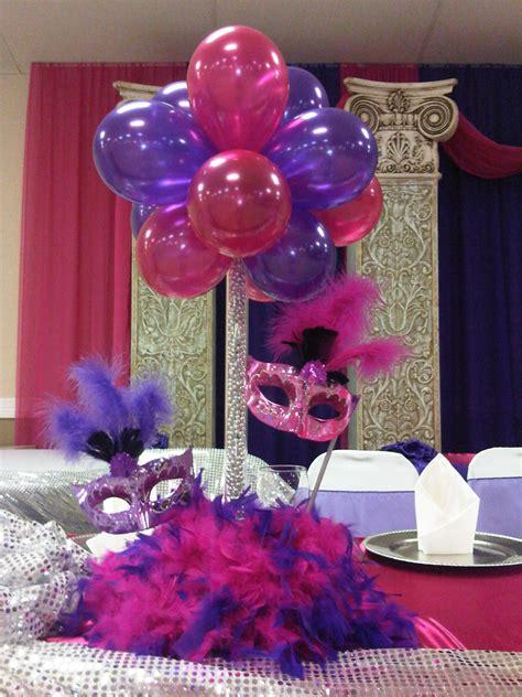 Balloon Centerpiece With Masks Centerpieces Pinterest