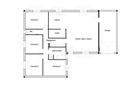 plan maison 1 chambre plan maison plain pied 1 chambre simple chambres maison