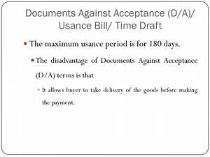methods of payment in international trade With documents against acceptance