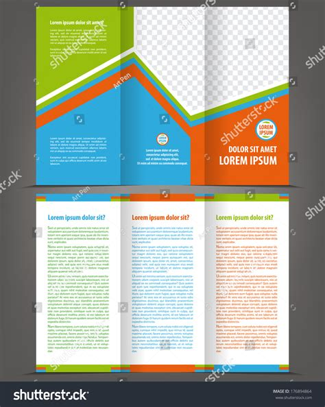 trifold design template empty vector empty trifold brochure print template design