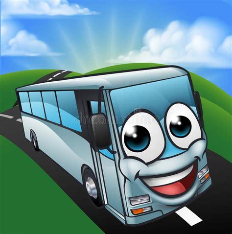 coach bus cartoon character mascot scene stock vector