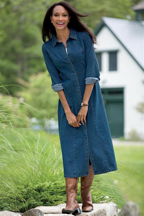 Long Denim Shirtdress | Chadwicks of Boston