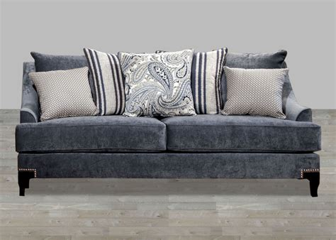 sectional sofa with nailhead trim contemporary slate blue fabric sofa with nailhead trim