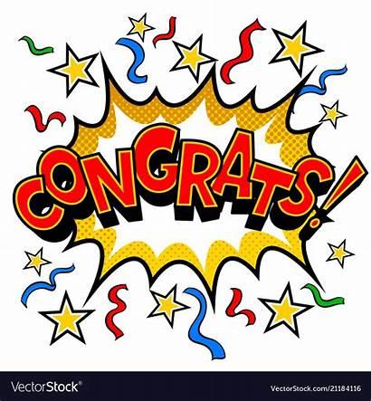 Congrats Pop Comic Congratulations Vector Cartoon Word