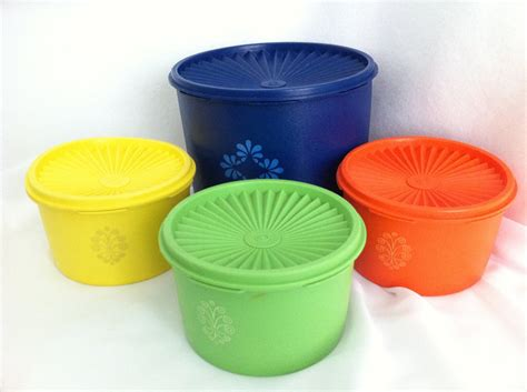 antique kitchen canister sets vintage tupperware canisters orange yellow blue green