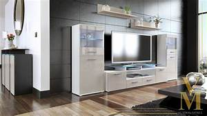 wall unit living room furniture almada v2 white high With high gloss furniture for living room