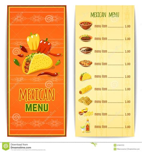 restaurant cuisine traditionnelle menu mexicain de nourriture illustration de vecteur