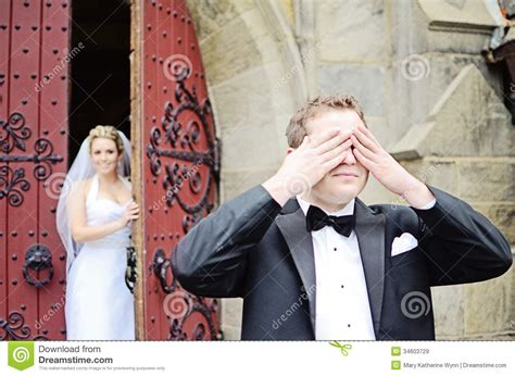 Wedding First Look Stock Image Image Of Commitment, Hold