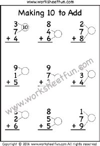 making 10 to add one worksheet ways to make a number 1st grade math worksheets first
