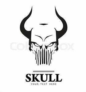 Skull With The Horn  In Black And
