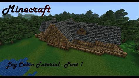 minecraft mansion tutorial log cabin part  youtube