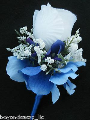 royal blue wrap stem white rose bud flower boutonniere