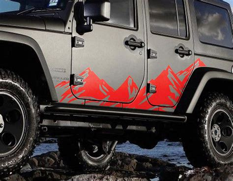 mountain jeep decals jeep wrangler mountain range body side graphics kit 2007 2017