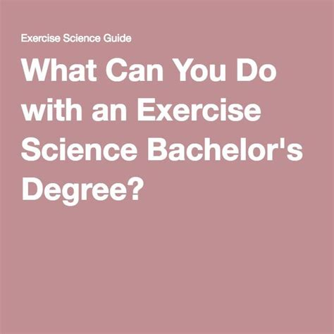 what can you do with an exercise science bachelor s degree