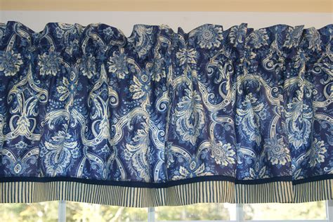blue white medallion toile valance waverly trim 17 x