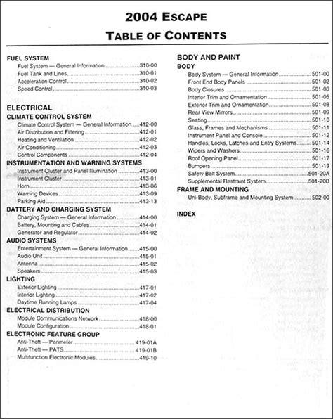 free car manuals to download 2004 ford escape navigation system 2004 ford escape repair shop manual original