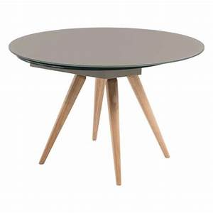 Table Ronde Industrielle : table ronde moderne en verre et bois avec allonges demi lune myles 4 ~ Teatrodelosmanantiales.com Idées de Décoration