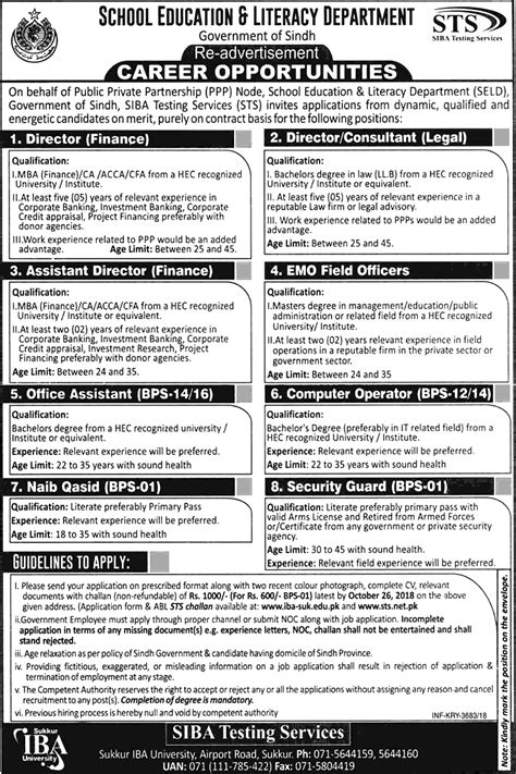 School Education and Literacy Department STS Jobs 2018