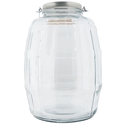 anchor hocking   gallon barrel jar  brushed
