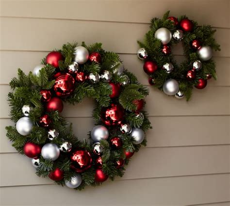 outdoor christmas wreath ideas indoor outdoor ornament pine wreath red silver pottery barn