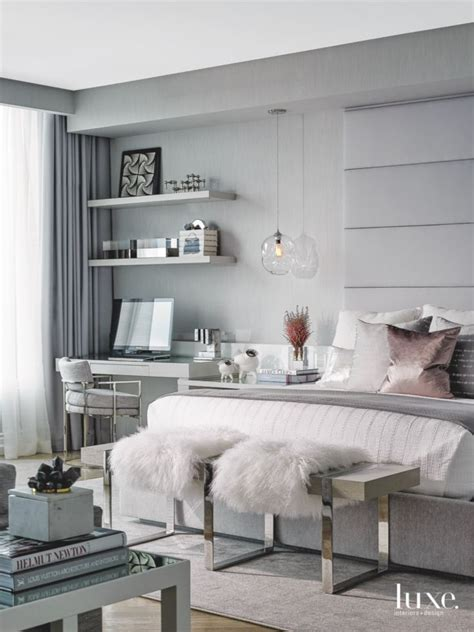 gray master bedroom  rose gold accent pillow  plush