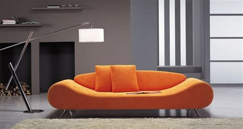 Orange Contemporary Sofa contemporary orange harmony sofa with unique shape prime
