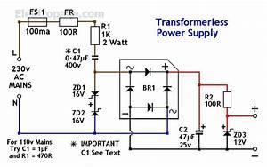 Transformerless Power Supply Schematic Circuits