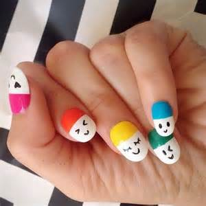 Cute and happy smiley face nails what better ways to show your