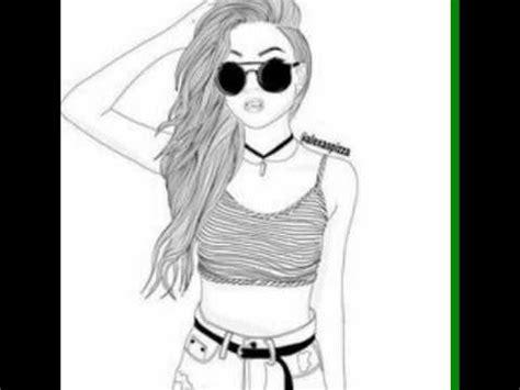 dessins de fille en noir et blanc