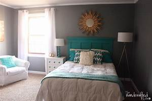 *The Handcrafted Life*: Teal, White and Grey Guest Bedroom
