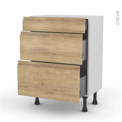prof de cuisine meuble bas prof 37 3 tiroirs l60xh70xp37 ipoma chêne