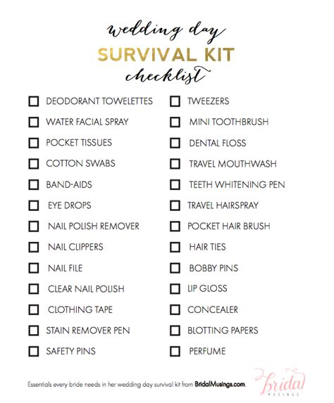 items  bride    wedding day survival kit