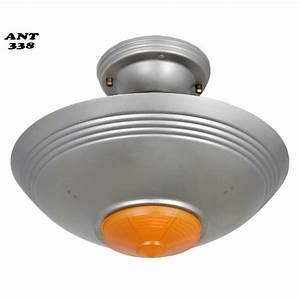 Art deco streamline antique single light bowl shade