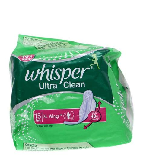 whisper pad whisper ultra clean xl wings 15 pads feminine care lowest prices available on whisper ultra