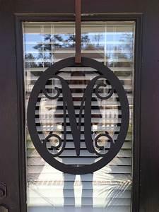 Salemetal monogram door hanger monogrammed by southerngreeters for Metal letters for front door