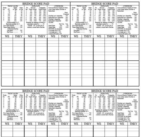 Printable Bridge Score Sheet Template 9 Free Sle Bridgett Score Sheet Templates Printable