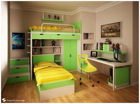 تصميم غرف نوم شباب اخضر و بيج سرير واحد مع مكتب ارضية