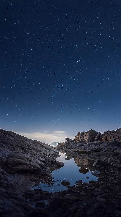 Rock Iphone Sky Nature Night Mountain Galaxy