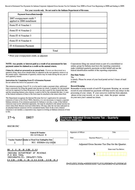 State Form 44462 Rps Corporate Adjusted Gross Income Tax Quarterly Indiana Department Of