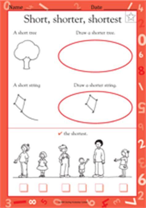 short shorter shortest ii kindergarten worksheet