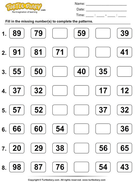 counting patterns worksheets complete the patterns using skip counting worksheet
