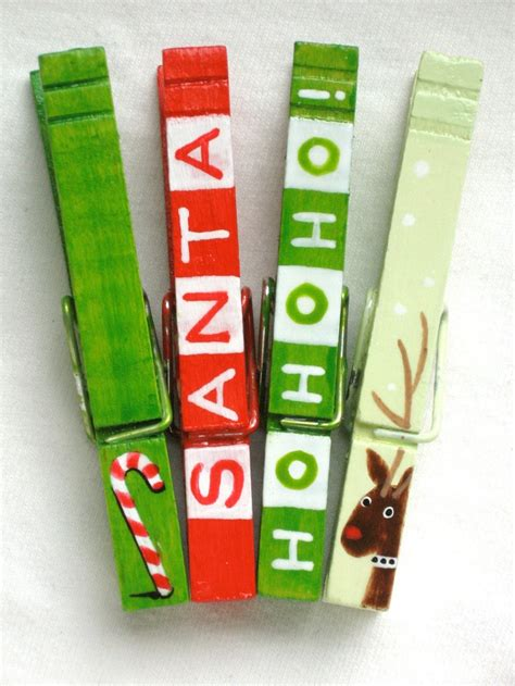 christmas clothespin hand painted magnetic pegs