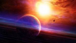 Full HD Wallpaper planet with rings, supernova, glare ...