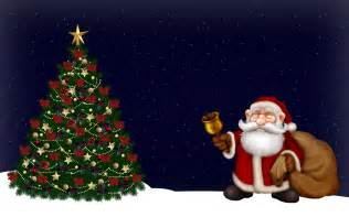 christmas tree with santa claus wallpaper 1049741
