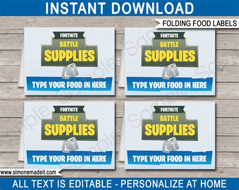 fortnite party food labels fortnite place cards