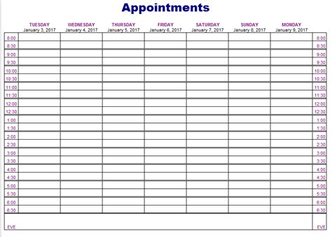 appointment schedule templates  ms word  ms excel