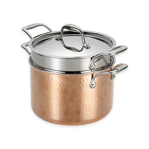 lagostina martellata tri ply copper  qt covered pastaiola  pasta insert bed bath