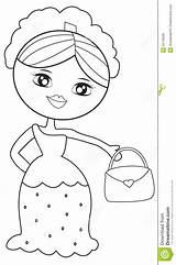 Lady Coloring Handbag Useful Illustration Dreamstime sketch template